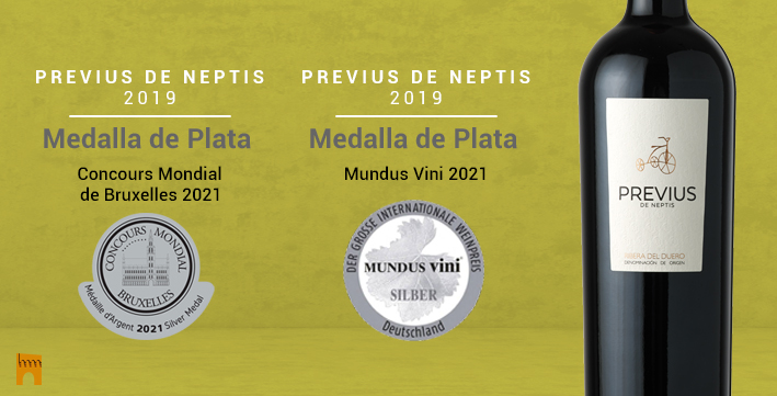 · Previus de Neptis 2019, MEDALLA DE PLATA en el Concours Mondial de Bruxelles 2021 y en Mundus Vini 2021